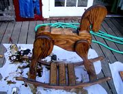 Rocking horse during finishing